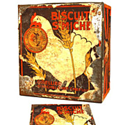 Rare Antique French Biscuit Tin &quot;Biscuit St. Michel&quot;