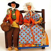 SOLD Pair of Vintage French Santon Dolls