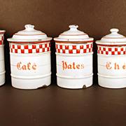 Vintage French Enamel Canister Set