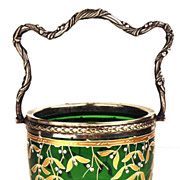 Antique Nineteenth Century French Green Glass and Silver Panier (Basket)