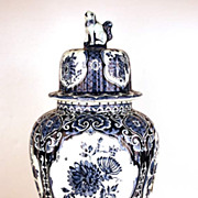 SOLD Vintage Hand Painted Delft Blue Ginger Vase
