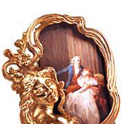 SOLD Miniature Cast Bronze/Metal Figural Picture Frame