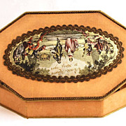 Commemorative French Bonbon Box w/ Color Lithograph Medallion