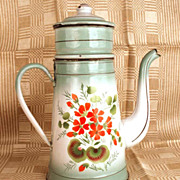 Vintage French Enameled Metal Cafetiere