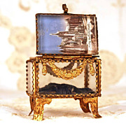 "To Antique French ""Grand Tour"" Beveled Eglomise Jewel Casket/Trinket Box"