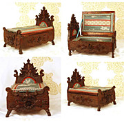 SALE PENDING Rare Antique French Hand Carved Walnut Boudoir Box in Form of Miniature Bed
