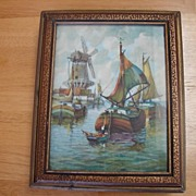 1930's Men's Mirrored Vanity Box with Ship Scene