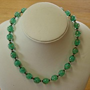 Green Crystal Necklace with Blown-in Agate Flakes