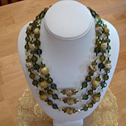 3-Strand Green Cut Crystal Necklace