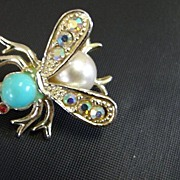Faux Pearl and Turquoise Fly Pin