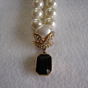 Marvella Faux Pearl Necklace with Black Pendant