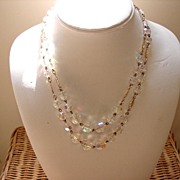 Aurora Borealis Crystal Glass Beads Double Strand Necklace