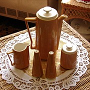 Butterscotch Coffee/Tea Pot Creamer Sugar Salt and Pepper Set
