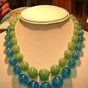 Double Strands Blue and Green Graduating Art Glass Beads Necklace