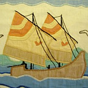 Vintage Hand Stitched Sail Boat Cloth Picture