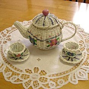 White Wicker Paint Decorated Tea Set in florals