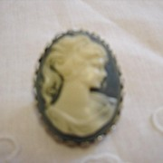 Beautiful White on Blue Cameo Brooch/Pin