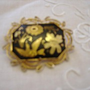 Beautiful Black and Golden Brooch/Pin w/bird and Florals
