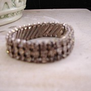 Sparkling Clear Rhinestone Stretch Bracelet Stamped Japan