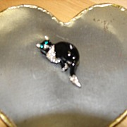 Black Enamel Rhinestone Cat w/Green Eyes