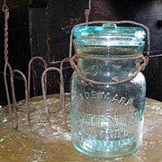 "Aqua Lightening 6"" Fruit Jar #4 Putnam w/Wire Rack"