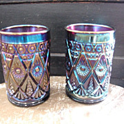 Imperial Amethyst Carnival Glass Tumblers Diamond Lace