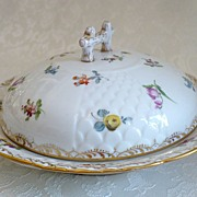 REDUCED Handpainted Dresden Porcelain 3-piece Butter Keep