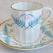 SALE Royal Worchester Handpainted Demitasse Cup & Saucer - c. 1907