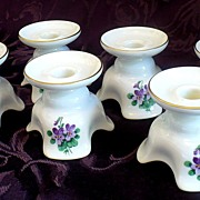 Unique Set of 6 Place Setting Floral Porcelain Viennese Candle Holders