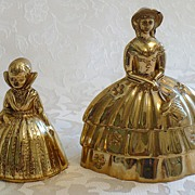 Pair of Antique Solid Brass Bells - Elizabethan & Victorian Ladies