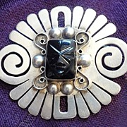 Vintage 1940s Mexican Silver & Obsidian Tribal Mask Brooch Pin