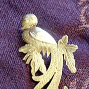 Vintage Mexican Silver Quetzal Brooch Pin with Gold Wash - National Bird of Guatemala