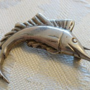 REDUCED Vintage Mexican Silver Swordfish Brooch Pin