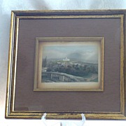 REDUCED William Henry Bartlett Original 1840 Framed Engraving: Washington from President's ...