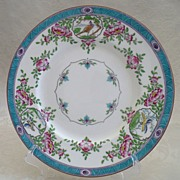 REDUCED Minton Hand-Painted English Porcelain Dinner Plate - Aqua Japonica Pattern