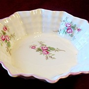 REDUCED Shelley English Porcelain Ruffled Edge Dish with Rosebuds