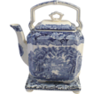 Mason's Vista Blue & White Transferware Staffordshire Tea Pot & Trivet - c. early 1900s