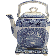 SALE Mason's Vista Blue & White Transferware Staffordshire Tea Pot & Trivet - c. early 1900s