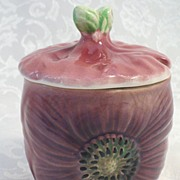 SALE Rose Poppy English Staffordshire Lidded Jam Jar - c. 1920's