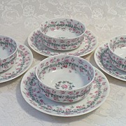 REDUCED 6 Haviland Limoges Bone China Ramekins & Saucers: Ivy Rose Pattern - 1893