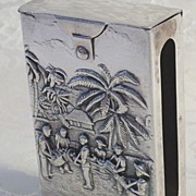 SALE Ornate Danish  Silver Cigarette Case from 1958