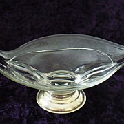 SALE Glass Divided Candy Dish with Sterling Silver Base