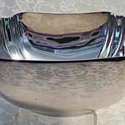 REDUCED Reed & Barton Nickel Silver Art Deco Style Square Nut Bowl