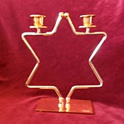SALE Magen David Silver & Gold Plated Shabbat Candlesticks