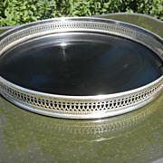 SALE Round, Black Serving Tray with Silverplated Rim