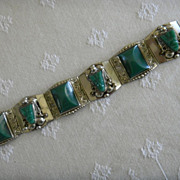 REDUCED Exquisite Taxco Mexican Sterling & Malachite Vintage '50s Tribal Head Bracelet