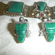 Vintage Taxco Mexican Sterling & Malachite  Earrings