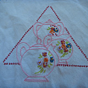 Embroidered French Tea Pots Square