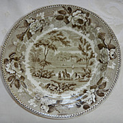 Brown & White Wedgwood Transferware Bowl