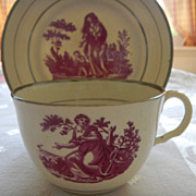 Antique Bat Transfer &quot;Faith, Hope & Charity&quot; Teacup and Saucer